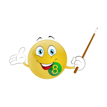 Smiley  billiard ball with cue on a white background. Illustration