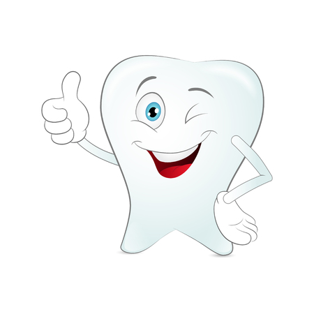 Cartoon tooth on a white background. Vector Illustration