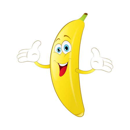 Cheerful Cartoon banana on a white background
