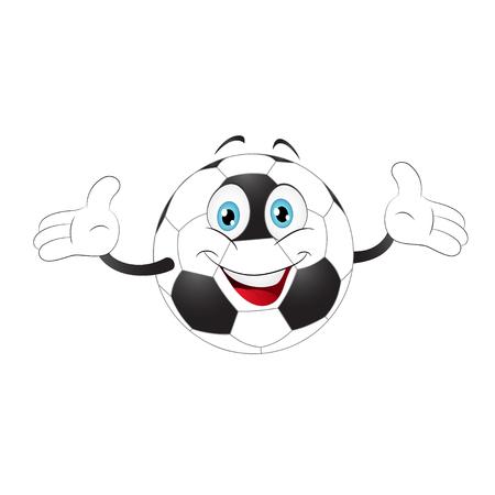 Cartoon soccer ball raising on a white background Иллюстрация