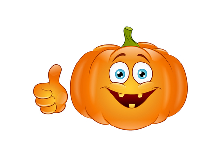 Smiling pumpkin on a white background. Vector Illustration