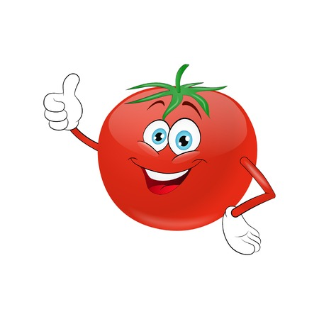 Cheerful cartoon tomato  on a white background