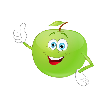 Cute cartoon apple giving a thumbs up sign on a white background
