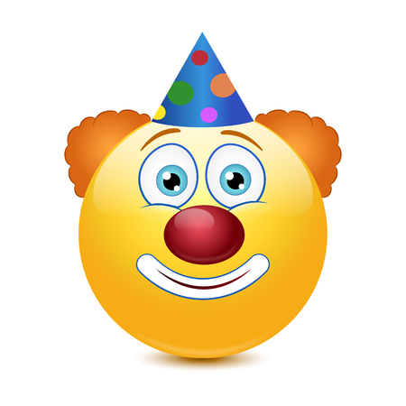 Emoticon with clown nose on a white background