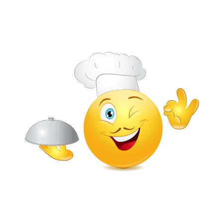 Chef emoticon cook vector illustration