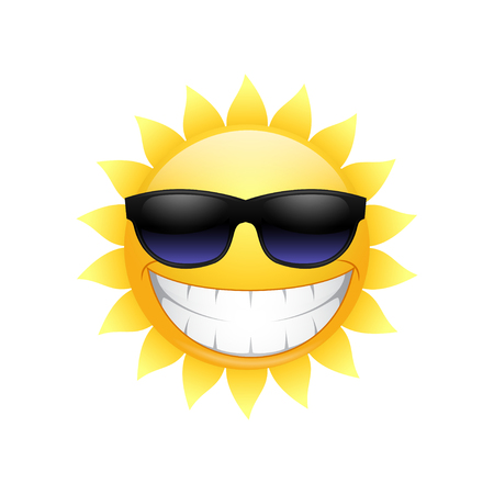 Smiling sun in glasses on a white background