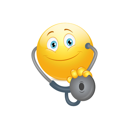 Smiley doctor with stethoscope on a white background