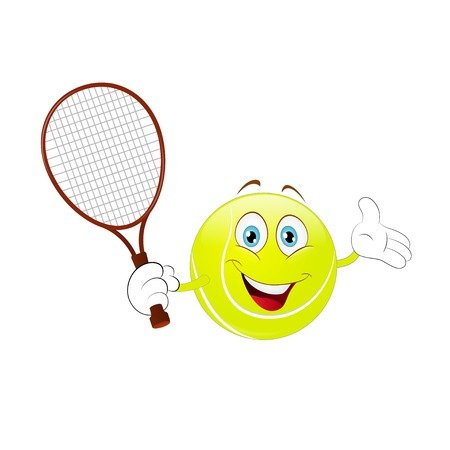 Cartoon, tennis ball holding his racket on a white background.