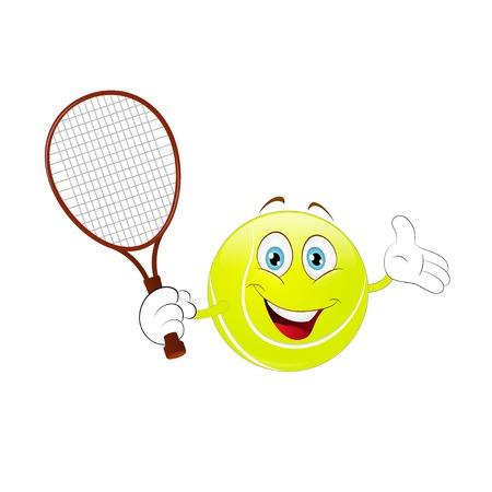 Cartoon, tennisbal die zijn racket op een witte achtergrond houdt. Stockfoto - 91681151