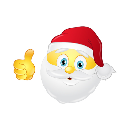 Santa emoticon with a beard on a white background.