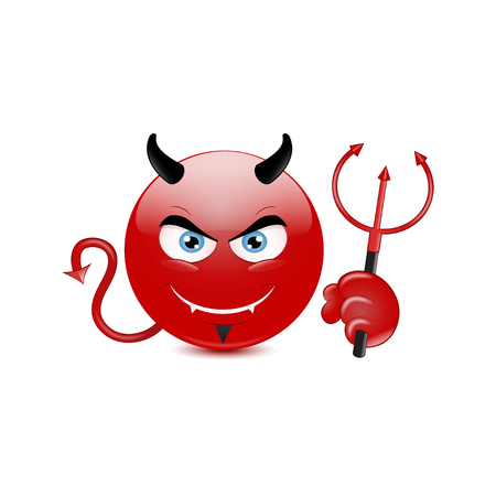 Devil emoticon on a white background. Vector