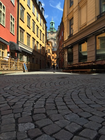 A worms-eye view down an avenue in Stockholm, Sweden Reklamní fotografie