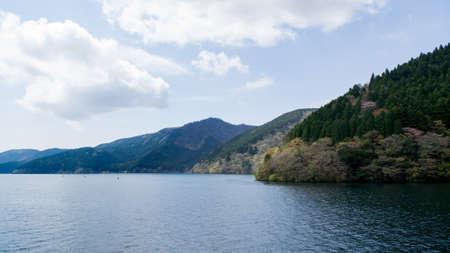 mountainscape: Lake Ashi (Ashi-no-ko) in Hakone, Ashigarashimo District, Kanagawa Prefecture, Japan.