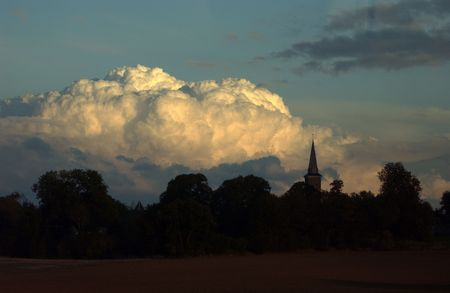 imminent: Cumulus thunder clouds rolling across Picardy, France Stock Photo