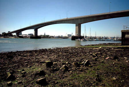 seafreight: The concrete Itchen Bridge and river at Southampton