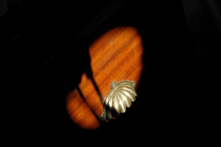 silver plated: Sun strikes silver plated shell shaped handle on mahogany furniture Stock Photo