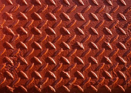 chequer: Red painted non-slip steel chequer plate Stock Photo