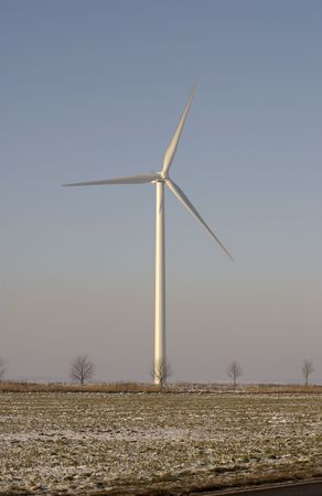 prevailing: French wind turbine in a winter landscape Stock Photo