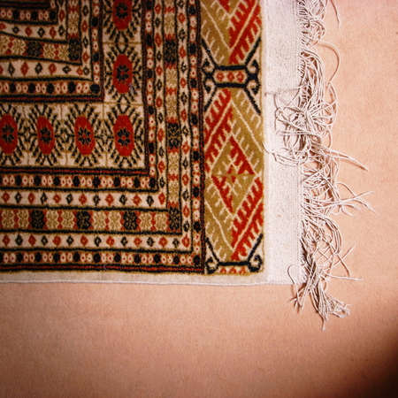 oriental rug: A corner and fringe of a patterned oriental rug.                                              Stock Photo
