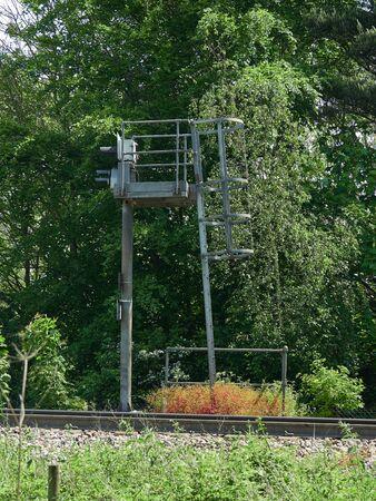 Railway Signal side profile showing framework and steps on Felixstowe branch line, UK.