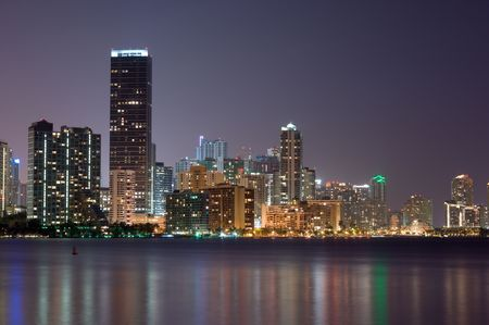 Downtown Miami Bayfront Skyline, Business District, Rental Buildings, Condos, Hotels and Entertainment District at Night