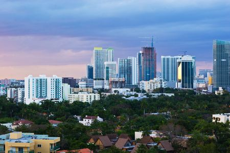 Downtown Miami Skyline at Dusk Stok Fotoğraf