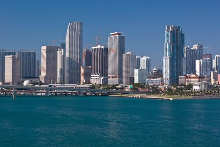 miami florida: Downtown Miami Bayfront With Highrise Office Buildings, Condos and Hotels