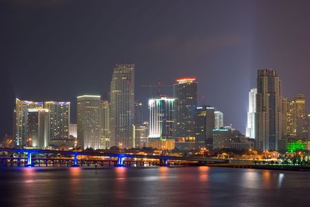 Downtown Miami Bayfront Skyline at Night, Showing Business, Residential and Entertainment Districts