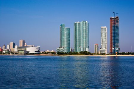 Highrise Construction on Miami Bayfront Stok Fotoğraf
