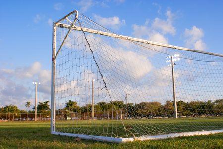 Soccer field with goal. Stok Fotoğraf