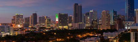 Downtown Miami Skyline Night Panorama Stock Photo - 3745067