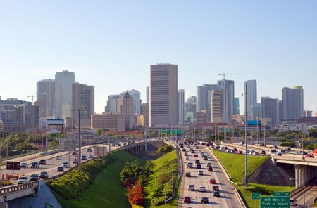 Miami Skyline and Highways and Morning Rush Hour Traffic photo