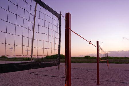 Beach Volleyball Nets at Sunrise Stok Fotoğraf
