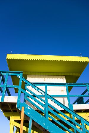 Blue and Yellow Generic Lifeguard Station or Hut