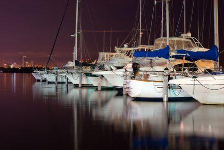 Pleasure Boats Docked at Night in Miami Marina  Stok Fotoğraf