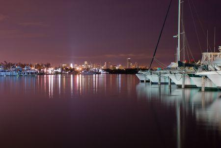 Pleasure Boats Docked at Night in Miami Marina