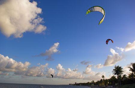 Kite Sails on Tropical Beach