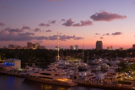 Florida Intracoastal Waterway Marina at Fort Lauderdale at Dawn  photo