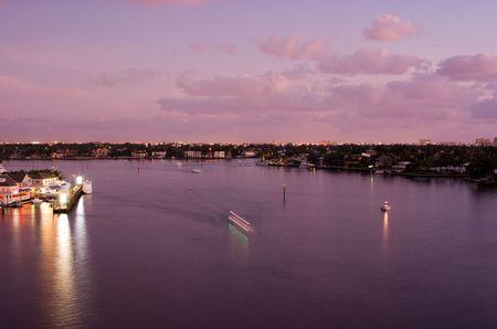 Florida Intracoastal Waterway at Fort Lauderdale at Dawn  Stok Fotoğraf