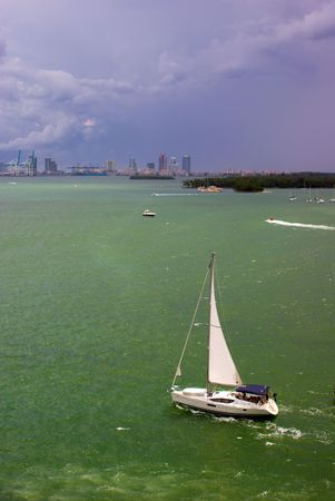 Sailboat in Biscayne Bay Near Port of Miami  Stok Fotoğraf