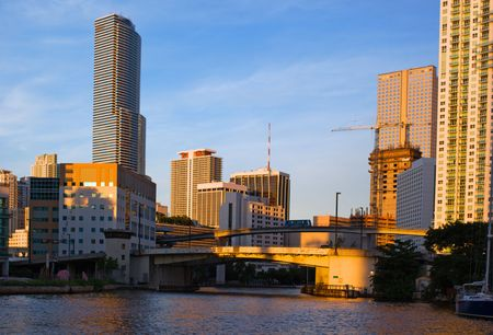 Miami River View of Downtown Miami Offices, Hotels and Residential Buildings