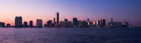 Miami Biscayne Bay Front Skyline Sunset Panorama