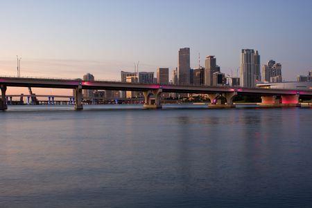 MacArthur Causeway, Harbor Bridges and Miami Bayfront Skyline at Dawn  photo