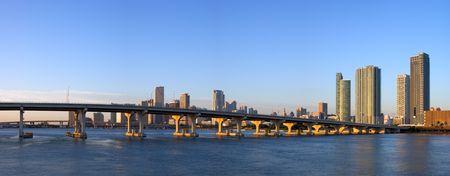 Panorama of MacArthur Causeway, Harbor Bridges and Miami Bayfront Skyline at Dawn