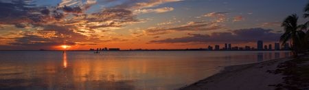 angle views: Peaceful Miami Sunset Biscayne Bay Beach Panorama  Stock Photo