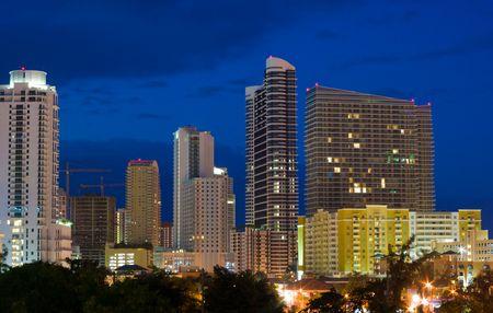 High Rise Miami Condo Buildings Shortly Before Dawn