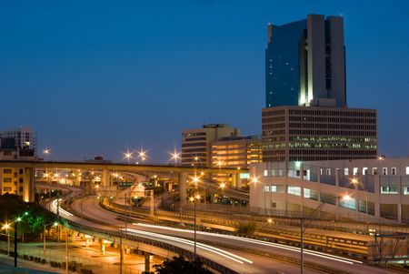 Urban Highway Interchange and Buildings Shortly Before Dawn  Stock Photo