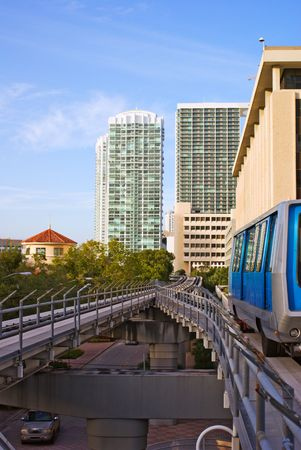 Urban Elevated Train and Office and Residential Buildings  Stok Fotoğraf