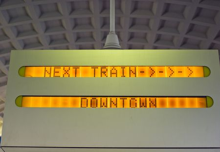 Next Train Downtown Sign in Commuter Rail Station