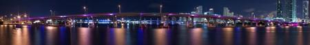 Miami Harbor Night Panorama Showing Principal Causeway Bridges and Downtown and Port Buildings  Stok Fotoğraf